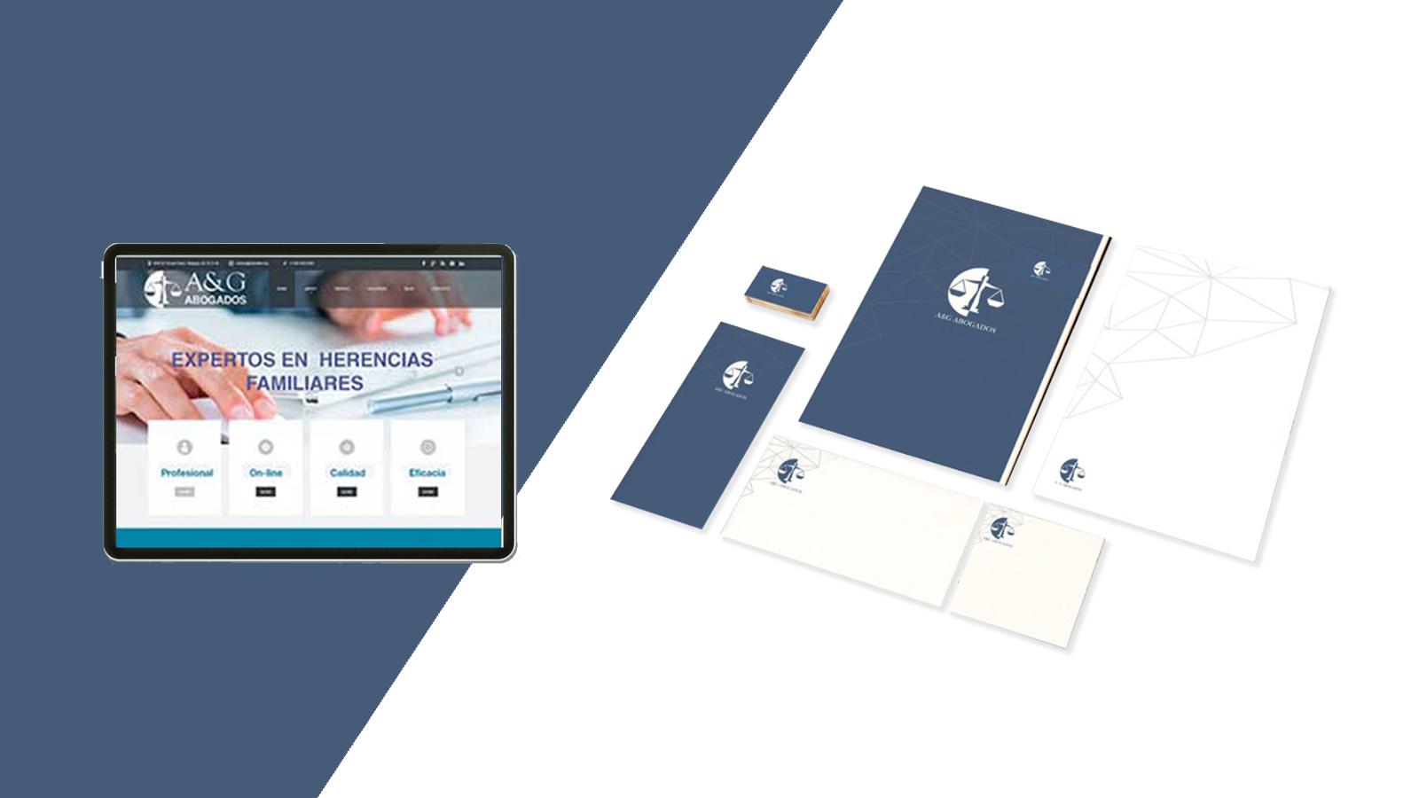 Marca, diseño de papelería corporativa y diseño web.